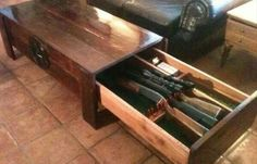 Weapons: Badass Hidden Gun Safe List. Utilize the wasted space underneath your coffee table with some hidden gun storage. Survival Gear and Prepping Ideas.   Survival Life http://survivallife.com/2014/05/21/badass-hidden-gun-safe-list/