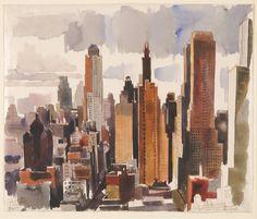 The Athenaeum - New York (Vilmos Aba-Novák - ) Harlem Renaissance, Bauhaus, Seattle Skyline, New York Skyline, New Objectivity, Digital Art Gallery, Art Deco, Magic Realism, Digital Museum