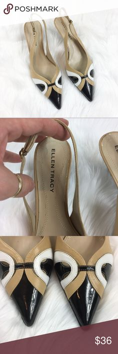 "Ellen Tracy Sling Back Kitten Heels Ellen Tracy ""Harry"" Slingback Kitten Heels. Size 7 1/2'. GUC with basic wear and some marking on sole. Please note picture for wear marks.                                                                     ❌I do not Trade   Or model   Posh Transactions ONLY Ellen Tracy Shoes Heels"