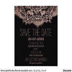 Rose gold boho floral mandala save the date 5x7 paper invitation card