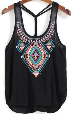 Black Spaghetti Strap Embroidered Cami Top -SheIn(Sheinside)