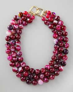 Three-Strand Cherry Agate Necklace by Kenneth Jay Lane at Neiman Marcus.