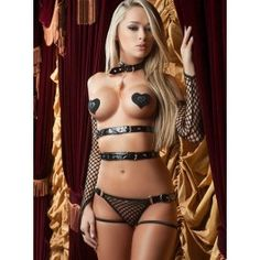 Three-piece fetish set. Includes an open bust big fishnet teddy, fingerless gloves, and heart shaped pasties. Teddy features strappy details, vinyl buckles, attached choker with feather, and revealing back.  Fetish inspired. Other accessories not included.