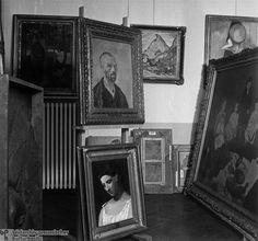 Storage Room in Niederschönhausen Castle for Nazi Confiscated Works of Degenerate Art, including Works by Vincent van Gogh, Pablo Picasso, and Paul Gauguin Vincent Van Gogh, Wassily Kandinsky, Henri Matisse, Berlin, Art Dégénéré, George Grosz, Monument Men, Degenerate Art, Gustave Courbet