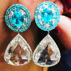 Lorraine Schwartz. Brazilian paraiba and rose cut diamond earrings. Wear with or without the bottoms.