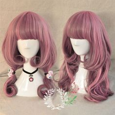 Harajuku Lolita Long Curly Wavy Hair Full Wigs Pink Gradient Wig Anime Cosplay | eBay