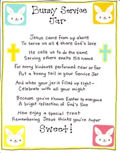 """Acts of Kindness ; Bunny Service Jar """"Be kind and compassionate to one another, forgiving each other, just as in Christ God forgave you."""" Ephesians 4:32"""