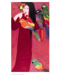 Girl with Parrots Print by Walasse Ting at Art.com
