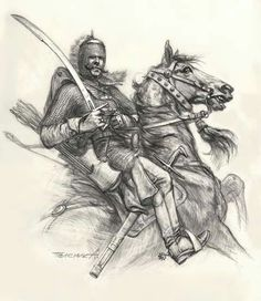 Pyatigorets, the beginning of the XVII century. Medieval Knight, Medieval Armor, Pencil Art Drawings, My Drawings, League Of Angels, Thirty Years' War, Japanese Oni, Arabian Art, Comic Book Characters