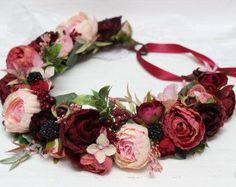 Ready to ship Burgundy wine pink flower crown Bridal floral crown Wedding hair wreath Flower headband Fall flower crown Flower halo