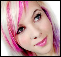 hot pink highlights in short blonde hair - Google Search