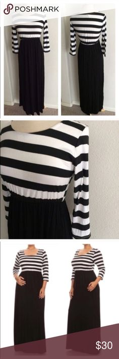 """Striped maxi dress *runs slightly small Striped maxi dress. Juniors sizing- I do suggest going a size up on this. Rayon/ spandex combo with an elastic waist  XL: L 59"""" B 38"""" ⭐️This item is brand new from manufacturer without tags.  NO TRADES Price is firm unless bundled Ask about bundle discounts Availability: XL• 2 Dresses Maxi"""
