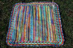 Multicolor Regenbogen Afghan  Häkeldecke  Unikat von CrochetRagRug