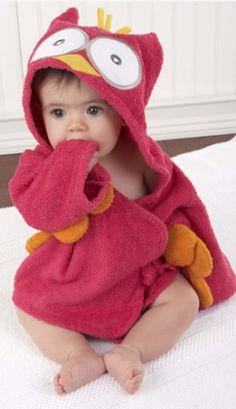 adorable hooded owl towel