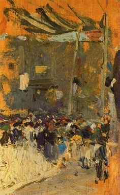Valencia Street with awnings -   Joaquín Sorolla