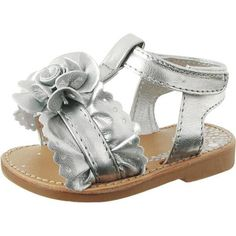 Baby Deer Walking Silver Sandals With Gathered Ruffles. Silver lamandeacute summer sandals for little girls. See More Shoes at http://www.ourgreatshop.com/Shoes-C201.aspx