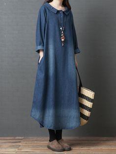 women doll collar denim blue long shirt dress at Banggood Vintage Style Dresses, Casual Dresses, Maxi Dresses, Fashion Dresses, Bohemian Dresses, Dress Robes, Denim Shirt Dress, Style Casual, Mode Hijab