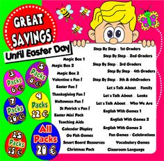 Easter Sales Hunt! Until Easter Day you can choose your set of ESL teaching Packs according to your needs! http://www.teachenglishstepbystep.com/packs.html Teach English Step By Step... Because teaching can be FUN!