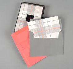 """Oscar"" plaid letterpress notecards"
