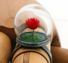 Mini red rose glass dome globe ring with green flocked grass- adjustable gunmetal or silver-plated brass ring. Spring summer jewellery