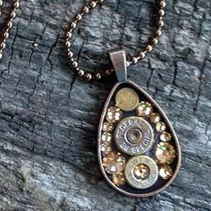 Bullets & Bronze Swarovski Crystal Copper Teardrop Necklace – Prettyhunter.com Bullet Shell Jewelry, Shotgun Shell Jewelry, Bullet Casing Jewelry, Ammo Jewelry, Resin Jewelry, Custom Jewelry, Jewelry Crafts, Jewelry Art, Jewelry Ideas