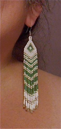 Long Green Seed Bead Earrings Native American by BlueTurtleMade