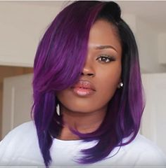 Guanyuhair Ombre #1B/Purple 12 Inch 360 Lace Front Wig Brazilian Human Hair Straight Full Lace Wig For Black Women 150 Density