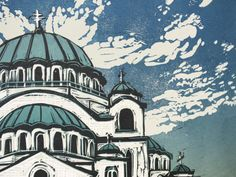 St Sava Orthodox Church Linocut by Ali Savic. print church art, linocut reduction printing, architecture wall art, orthodox church belgrade, printmaking blue & green #belgrade #sava