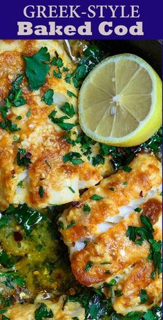 Greek-Style Baked Cod Recipe With Lemon And Garlic The Mediterranean Dish. Simple, Weeknight Dinner Baked Cod, Spiced Greek-Style And Baked With Fresh Lemon Juice, Olive Oil And Garlic. Takes 15 Minutes Or Less In Your Oven Fish Dinner, Seafood Dinner, Seafood Pasta, Dinner Menu, Dinner Ideas, Meal Ideas, Fish Pasta, Appetizer Dinner, Seafood Lasagna