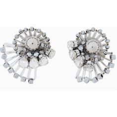 MAX&Co. Earrings with a fan of rods (1,840 PHP) ❤ liked on Polyvore featuring jewelry, earrings, silver, pin jewelry, rhinestone stud earrings, bead jewellery, teardrop jewelry and spiral earrings