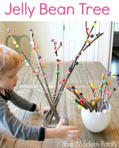 DIY Jelly Bean Tree by yourmodernfamily #DIY #Kids #Jelly_Bean_Tree