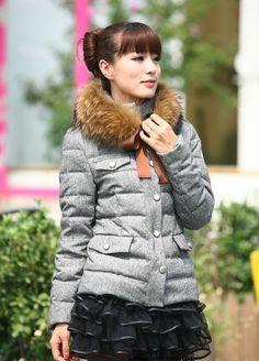 Moncler Cachalot Fur Collar Women Down Jacket Matte Grey [2900357] - £200.69 : 5% off discount code: happywinter