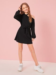 Girls Cutout Shoulder Lantern Sleeve Self Belted Dress USD Source by spotpopfashion ados 12 ans Teenage Girl Outfits, Girls Fashion Clothes, Cute Girl Outfits, Kids Outfits Girls, Tween Fashion, Teen Fashion Outfits, Cute Outfits For Kids, Cute Casual Outfits, Cute Summer Outfits