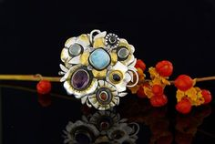 A BOUQUET - SILVER RING WITH GEMSTONES