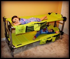 Portable Bunk Beds For Kids If you have city kids that feel uncomfortable on the grass or mud when camping, this portable Kid-O-Bunk bed will be a life saver from all the whining. Affordable bunk beds Kid-O-Bunk Camping Bunk Beds, Portable Bunk Beds, Cool Bunk Beds, Bunk Beds With Stairs, Kids Bunk Beds, Toddler Travel, Travel With Kids, Family Travel, Camping Drinking Games