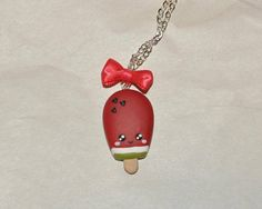 Necklace Watermelon Ice Cream with Heart Seeds and Red Silk