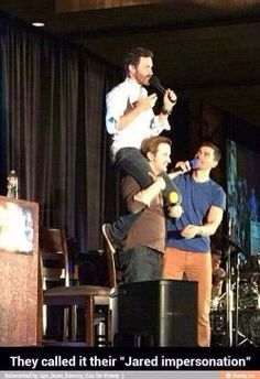 Rob Benedict on Richard Speight Jr.'s shoulders doing a Jared impression.... Matt Cohen making sure Rob's okay.... I love this cast