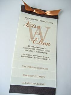 Layered Wedding Program wedding program wording - like the way this is set up Wedding Programs Wording, Wedding Program Examples, Unique Wedding Programs, Ceremony Programs, Wedding Places, Wedding Tips, Diy Wedding, Wedding Planning, Beige Wedding
