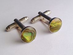 Men's Handsome Pair of New Silver & Green Paua Shell by Lynx2Cuffs, $16.99