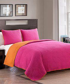 Another great find on #zulily! Pink & Orange Jack Quilt Set #zulilyfinds