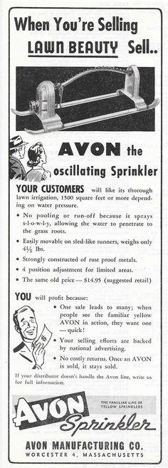 1952 AVON OSCILLATING LAWN SPRINKLER AD WORCESTER MA MASSACHUSETTS Oscillating Sprinkler, Lawn Irrigation, Garden Sprinklers, Vintage Ads, Old Photos, Avon, Household Products, Worcester, Massachusetts