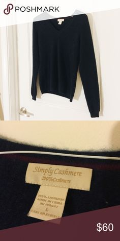 SIMPLY CASHMERE x SWEATER // Simply Cashmere x Dark Blue Sweater //  - 100% cashmere  •Feel free to ask for any measurements •I LOVE offers! •More photos upon request •LIKE NEW condition. No rips, stains, or imperfections •Sorry, I DO NOT trade  ! SIZE L BUT FITS MORE LIKE A M ! Simply Cashmere Sweaters