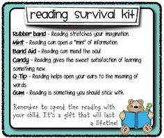 Reading Survival kit...Open House or literacy night?