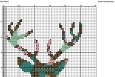 Floral Deer Cross Stitch Pattern PDF Instant Download. Deer