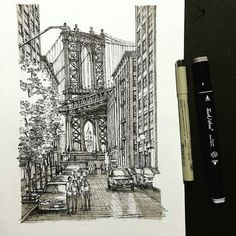 Awesome #penandink #architecture #illustration by Haode Lin (@ar.ar) of the #ManhattanBridge. Not sure if this is the #Manhattan or #Brooklyn side but this piece definitely shows off Haode's #drawing #skills! From the bridge itself to the #buildings that frame the view to the #cars and #trees and the #shadows that are cast around them... It's all just a great #composition. Nice #cityscape Haode!