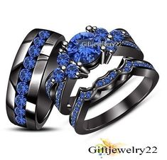 1.80 Ct Sapphire Engagement Ring Wedding Trio Set His And Hers Black Gold Plated #giftjewelry22