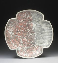 Megan Mitchells Lace Platter, 13 in cm) in width, porcelain with inlaid slip and underglaze decals click the image or link for more info. Slab Pottery, Pottery Plates, Ceramic Plates, Ceramic Pottery, Ceramic Art, Megan Mitchell, Make Your Own Pottery, Ceramics Monthly, Small Cupboard