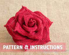 Crochet Rose Pattern  Crochet Flower Pattern  Crochet