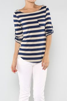 Stripe Jersey Top available at Jenilee's Chic Boutique on fb