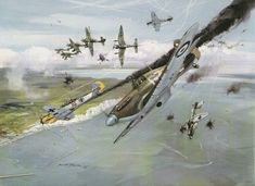 A painting of a scene out of the Battle of Britain containing Hawker Hurricane, Ju87 Stuka and Me 109's - - - - - - Partners: @british_military_stuff @war.deutschland @sco19_ctsfo @united.kingdom.military @natoforces_ @military___freak @tank_facts @warriorbuilt @british_army_things @british_armor @british_armed_forces @bodybuildingtiger @royal_anglian - - - #royalairforce #battleofbritain #hurricane #me109 #stuka #germany #uk #ww2